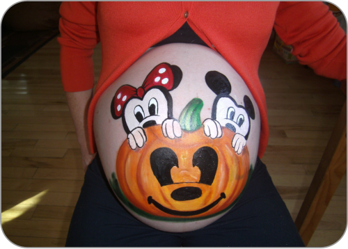 a mousey halloween painting on a pregnant belly - Pregnant Halloween Painted Bellies